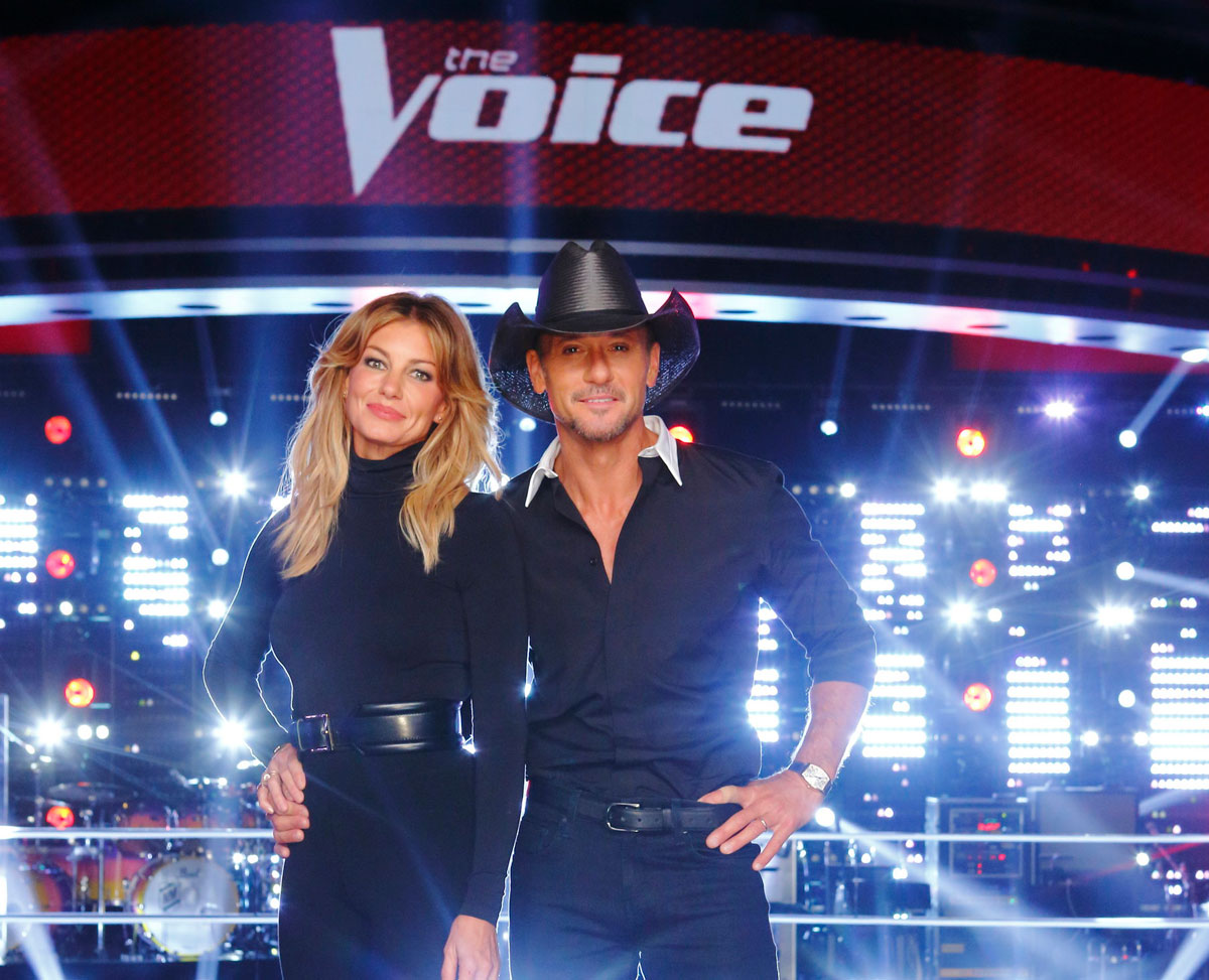 Tim McGraw and Faith Hill on the set of The Voice