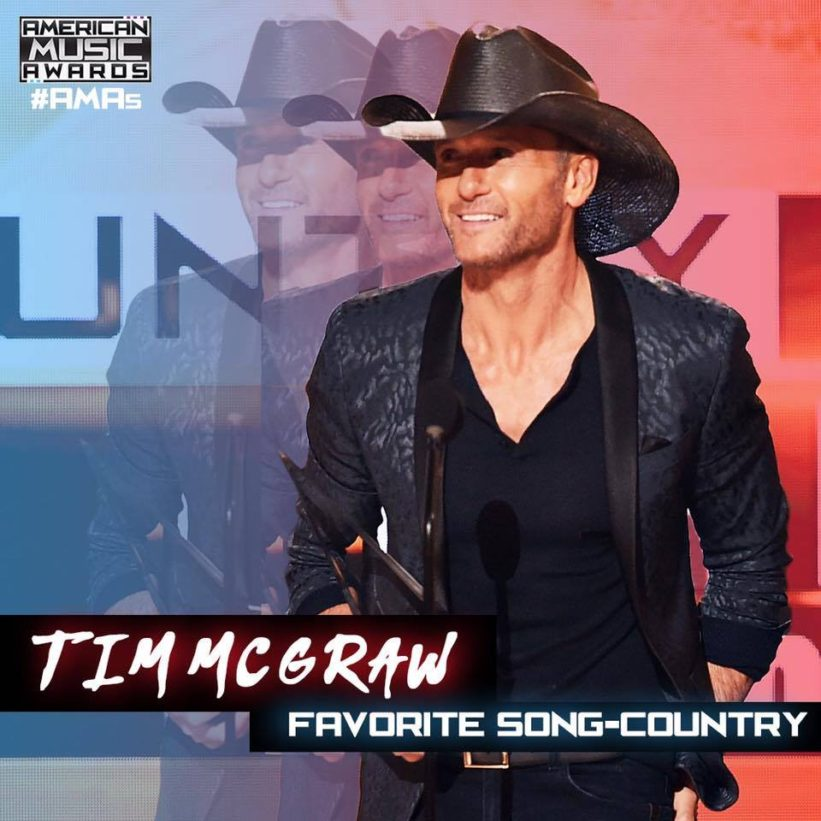 Tim McGraw wins at the American Music Awards AMA
